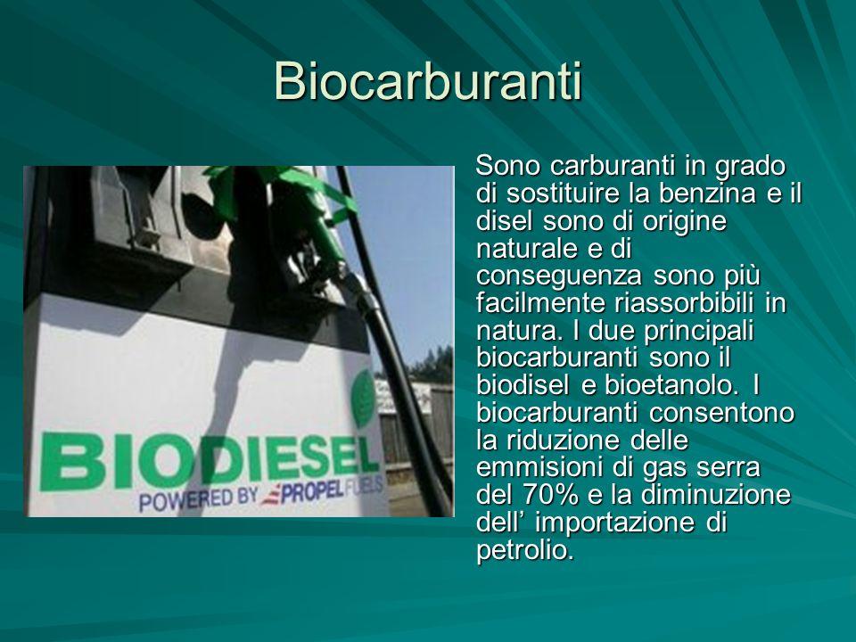 Biocarburanti Sono carburanti in grado di sostituire la benzina e il disel sono di origine naturale e di conseguenza sono più facilmente riassorbibili