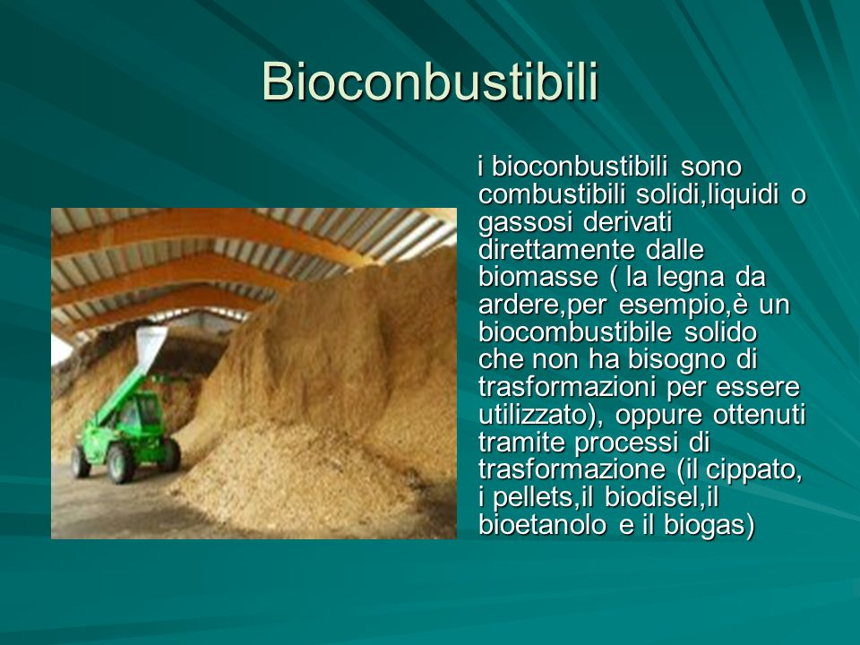 Bioconbustibili i bioconbustibili sono combustibili solidi,liquidi o gassosi derivati direttamente dalle biomasse ( la legna da ardere,per esempio,è u