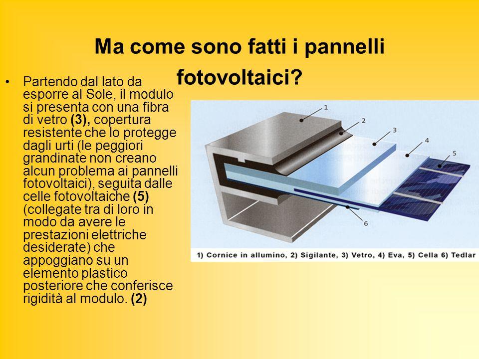 Ma come sono fatti i pannelli fotovoltaici? Partendo dal lato da esporre al Sole, il modulo si presenta con una fibra di vetro (3), copertura resisten
