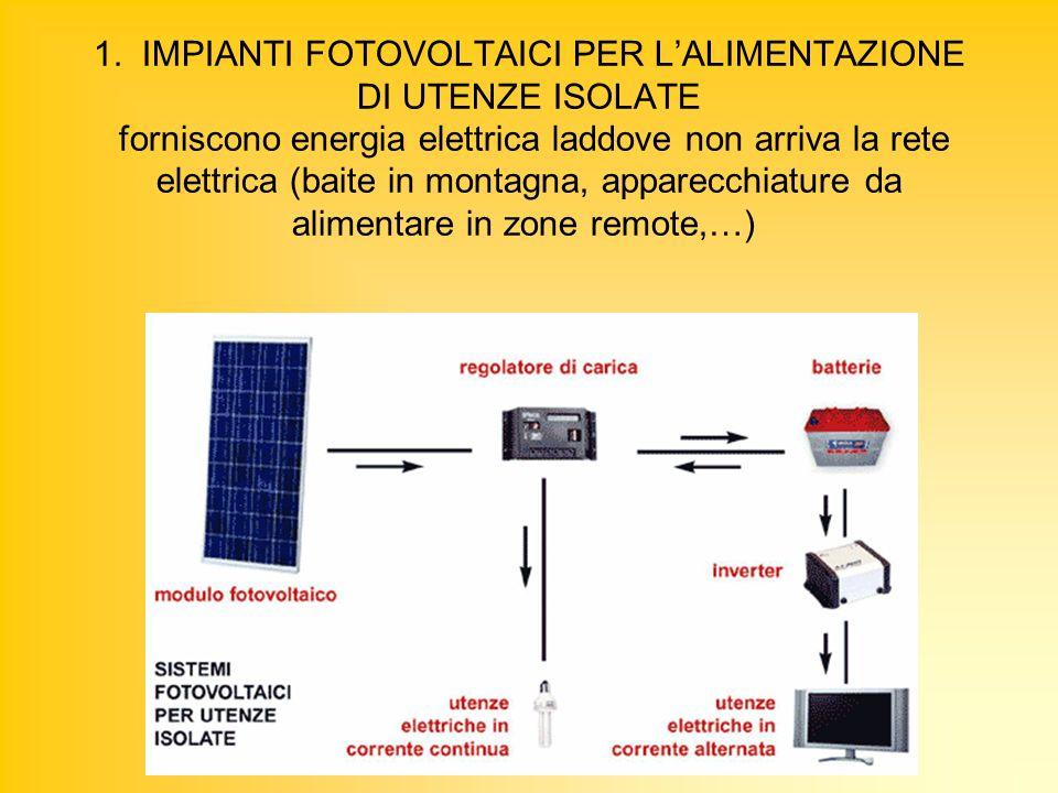 1. IMPIANTI FOTOVOLTAICI PER LALIMENTAZIONE DI UTENZE ISOLATE forniscono energia elettrica laddove non arriva la rete elettrica (baite in montagna, ap