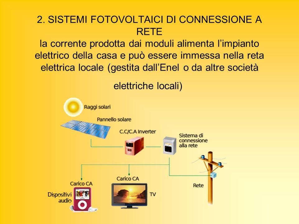 2. SISTEMI FOTOVOLTAICI DI CONNESSIONE A RETE la corrente prodotta dai moduli alimenta limpianto elettrico della casa e può essere immessa nella reta