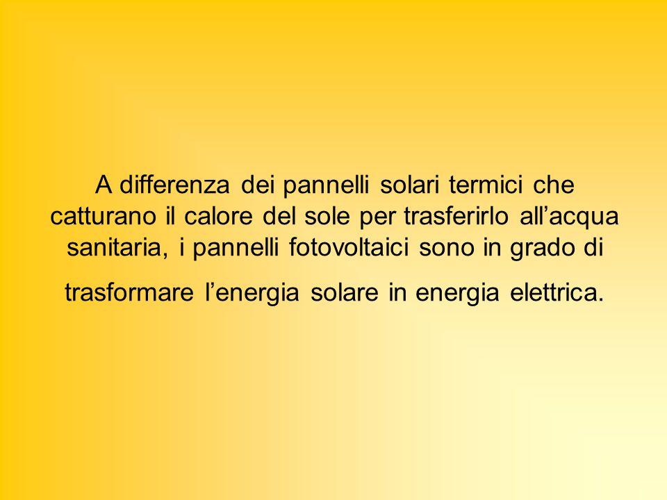 A differenza dei pannelli solari termici che catturano il calore del sole per trasferirlo allacqua sanitaria, i pannelli fotovoltaici sono in grado di