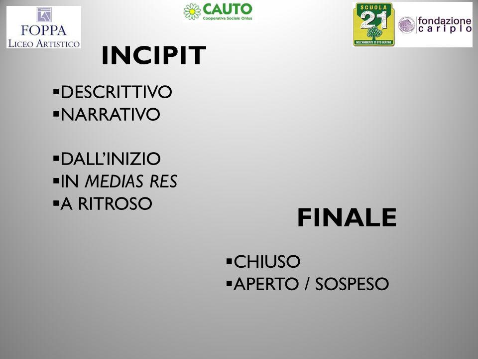 INCIPIT DESCRITTIVO NARRATIVO DALLINIZIO IN MEDIAS RES A RITROSO FINALE CHIUSO APERTO / SOSPESO