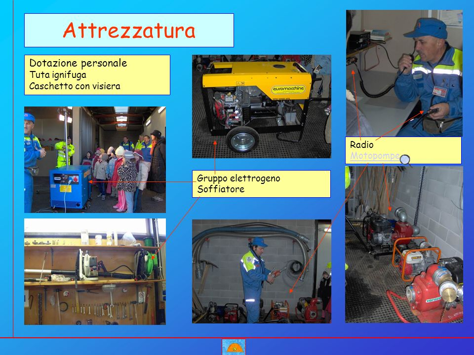 Gruppo elettrogeno Soffiatore Attrezzatura Dotazione personale Tuta ignifuga Caschetto con visiera Radio Motopompe Motopompe