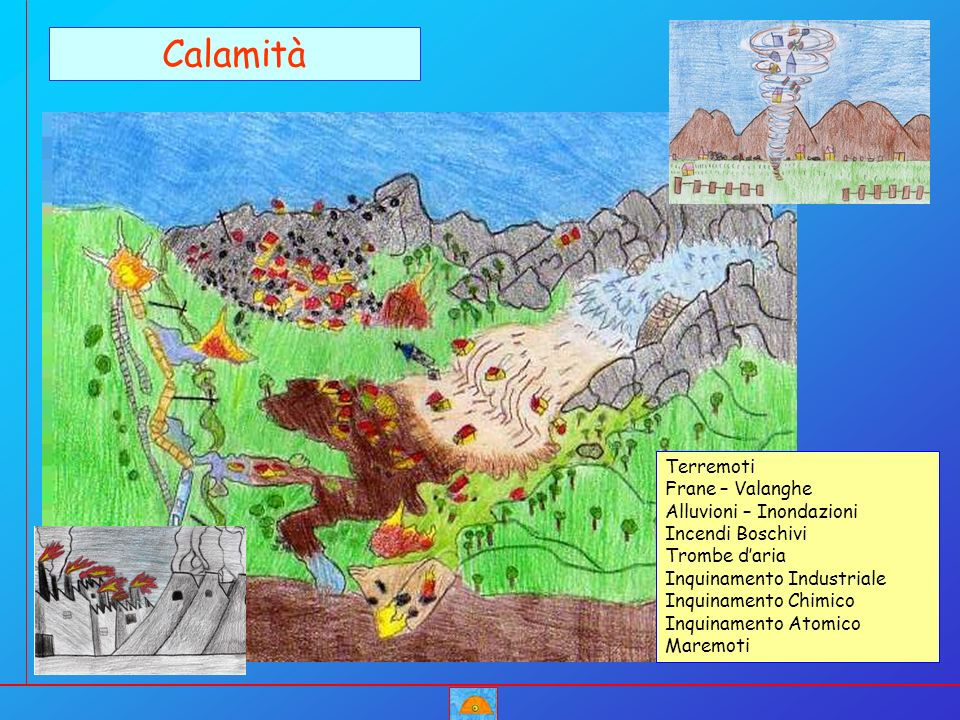 Calamità Terremoti Frane – Valanghe Alluvioni – Inondazioni Incendi Boschivi Trombe daria Inquinamento Industriale Inquinamento Chimico Inquinamento A