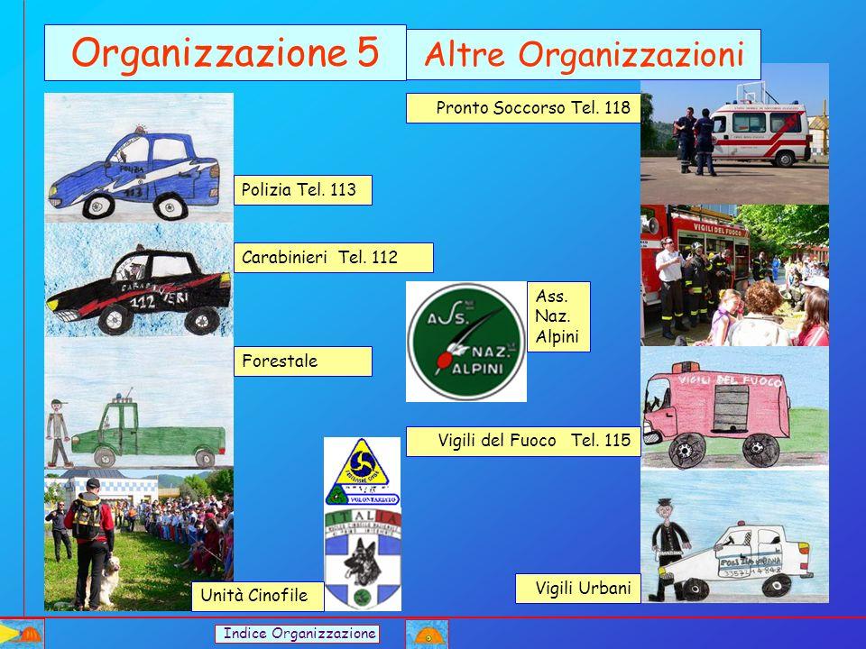 Pronto Soccorso Tel. 118 Vigili Urbani Polizia Tel. 113 Carabinieri Tel. 112 Vigili del Fuoco Tel. 115 Forestale Organizzazione 5 Altre Organizzazioni