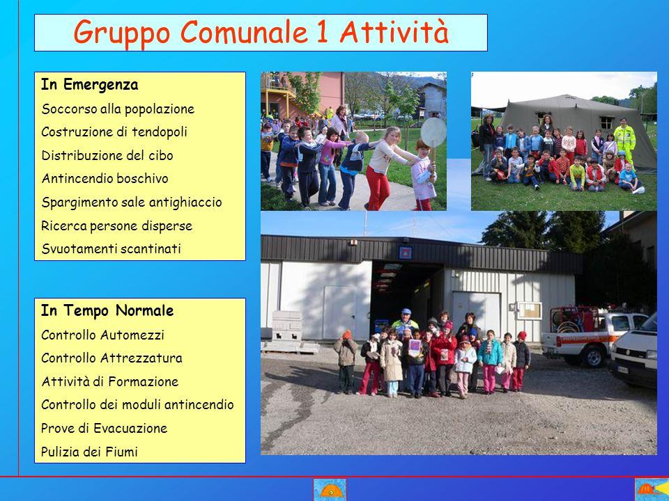 2.Costruzione di tendopoli Gruppo Comunale 2 Attività in Emergenza 4.