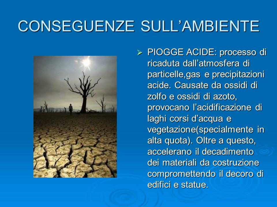 CONSEGUENZE SULLAMBIENTE PIOGGE ACIDE: processo di ricaduta dallatmosfera di particelle,gas e precipitazioni acide. Causate da ossidi di zolfo e ossid