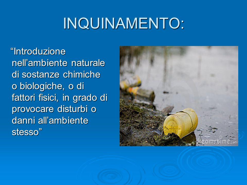 INQUINAMENTO: Introduzione nellambiente naturale di sostanze chimiche o biologiche, o di fattori fisici, in grado di provocare disturbi o danni allamb