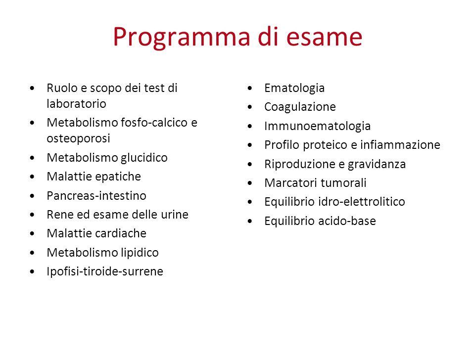 Programma di esame Ruolo e scopo dei test di laboratorio Metabolismo fosfo-calcico e osteoporosi Metabolismo glucidico Malattie epatiche Pancreas-inte