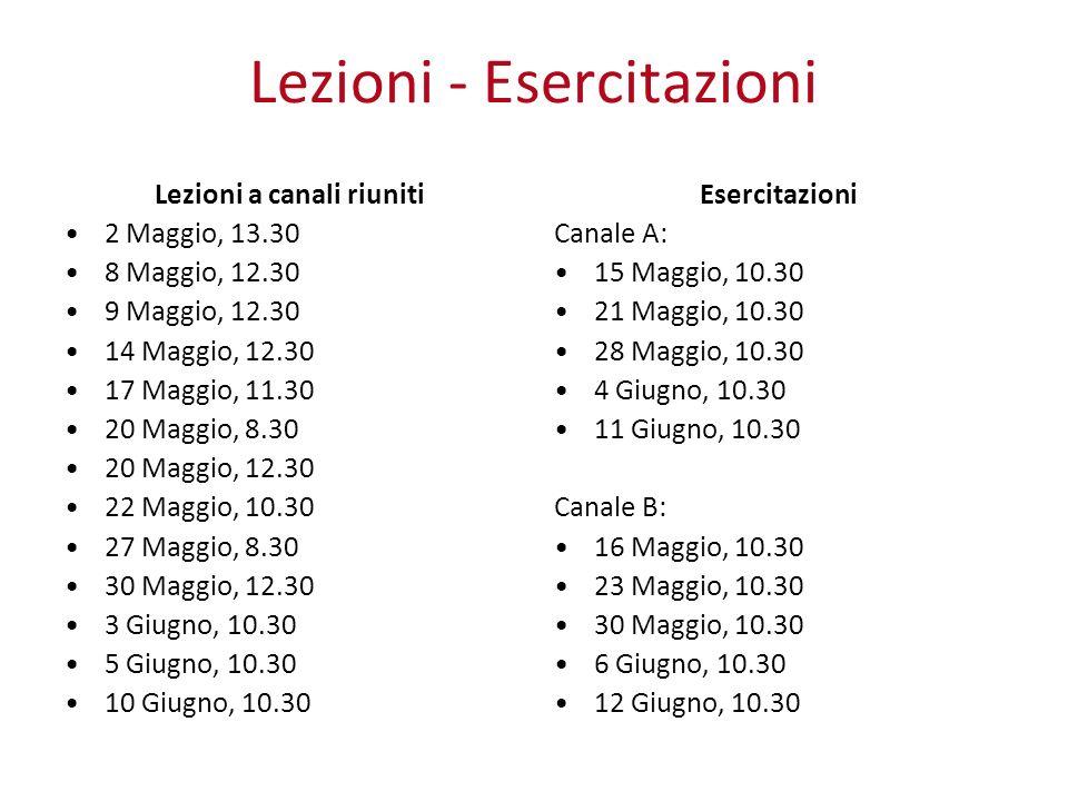 Lezioni - Esercitazioni Lezioni a canali riuniti 2 Maggio, 13.30 8 Maggio, 12.30 9 Maggio, 12.30 14 Maggio, 12.30 17 Maggio, 11.30 20 Maggio, 8.30 20