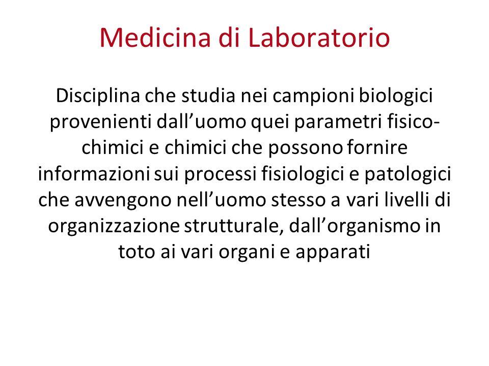 Medicina di Laboratorio Disciplina che studia nei campioni biologici provenienti dalluomo quei parametri fisico- chimici e chimici che possono fornire