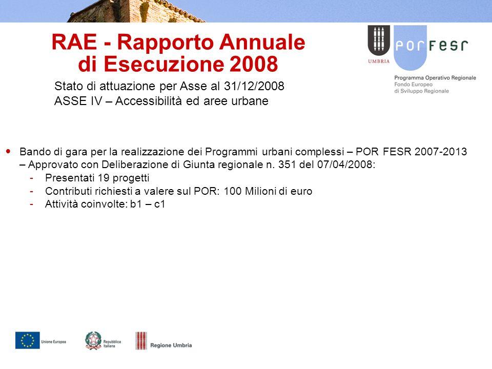 RAE - Rapporto Annuale di Esecuzione 2008 Stato di attuazione per Asse al 31/12/2008 ASSE IV – Accessibilità ed aree urbane Bando di gara per la realizzazione dei Programmi urbani complessi – POR FESR 2007-2013 – Approvato con Deliberazione di Giunta regionale n.
