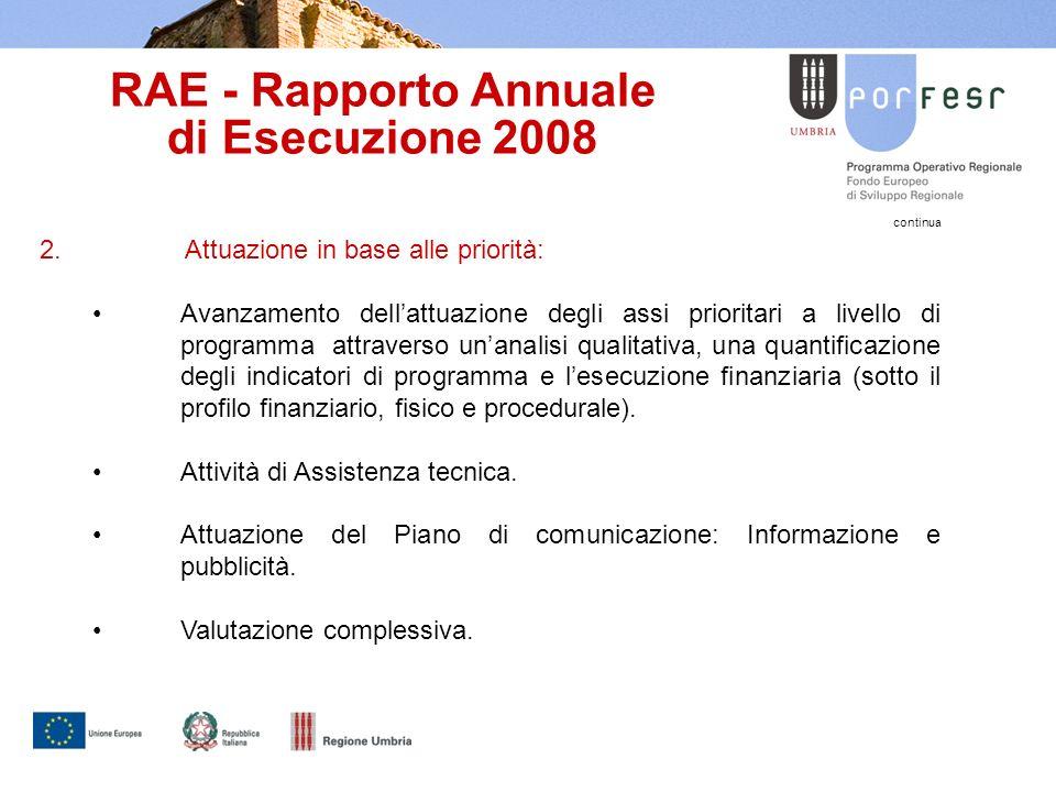 RAE - Rapporto Annuale di Esecuzione 2008 continua 2.