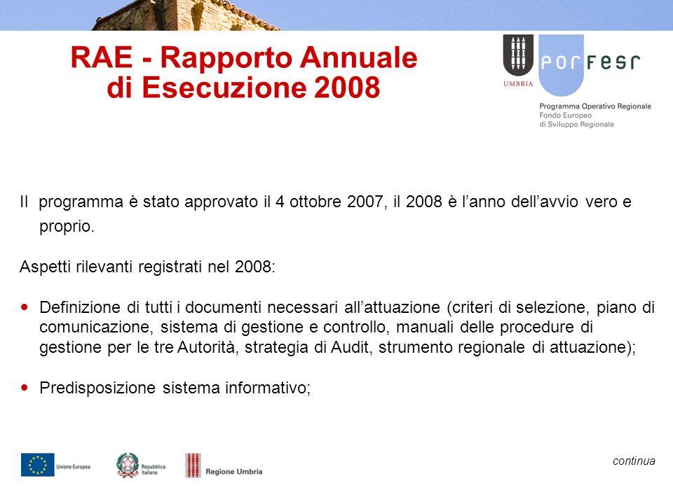 RAE - Rapporto Annuale di Esecuzione 2008 Il programma è stato approvato il 4 ottobre 2007, il 2008 è lanno dellavvio vero e proprio.