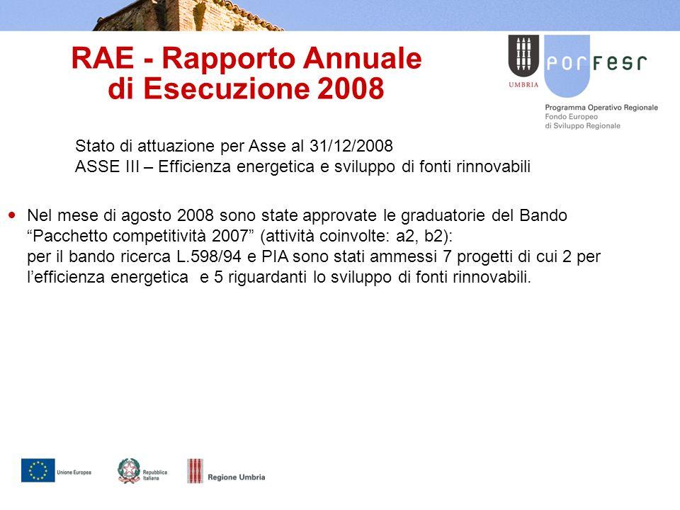 RAE - Rapporto Annuale di Esecuzione 2008 Stato di attuazione per Asse al 31/12/2008 ASSE III – Efficienza energetica e sviluppo di fonti rinnovabili Nel mese di agosto 2008 sono state approvate le graduatorie del Bando Pacchetto competitività 2007 (attività coinvolte: a2, b2): per il bando ricerca L.598/94 e PIA sono stati ammessi 7 progetti di cui 2 per lefficienza energetica e 5 riguardanti lo sviluppo di fonti rinnovabili.