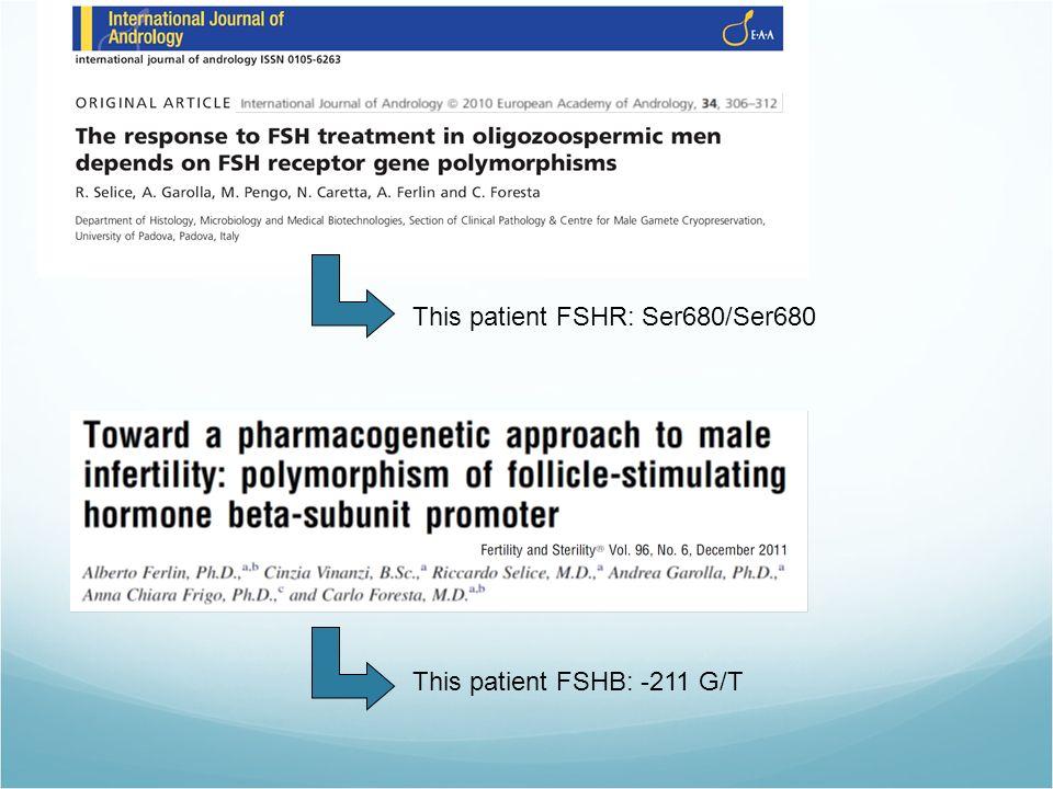 This patient FSHR: Ser680/Ser680 This patient FSHB: -211 G/T