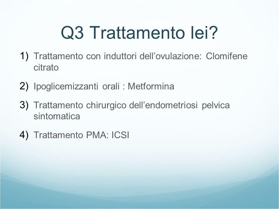 Q3 Trattamento lei? 1) Trattamento con induttori dellovulazione: Clomifene citrato 2) Ipoglicemizzanti orali : Metformina 3) Trattamento chirurgico de