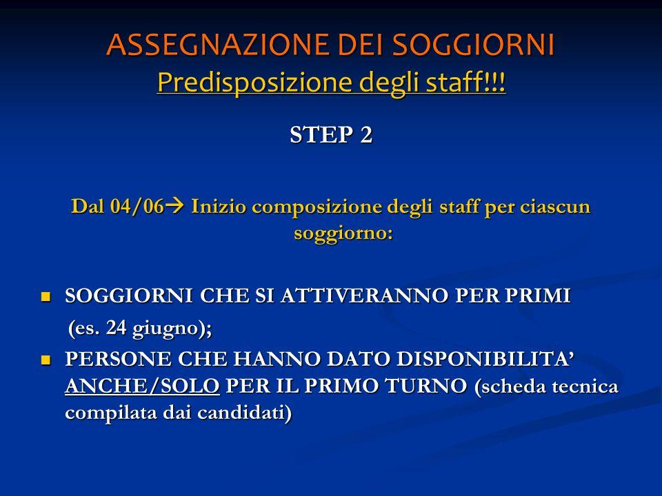 ASSEGNAZIONE DEI SOGGIORNI Predisposizione degli staff!!! STEP 2 Dal 04/06 Inizio composizione degli staff per ciascun soggiorno: SOGGIORNI CHE SI ATT