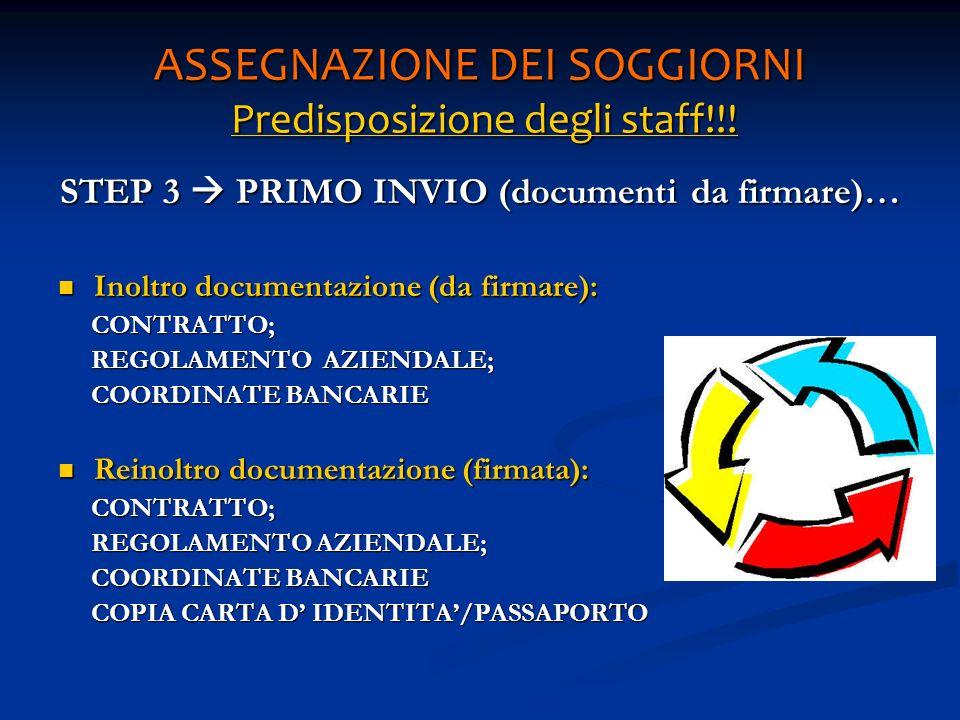 ASSEGNAZIONE DEI SOGGIORNI Predisposizione degli staff!!! STEP 3 PRIMO INVIO (documenti da firmare)… Inoltro documentazione (da firmare): Inoltro docu