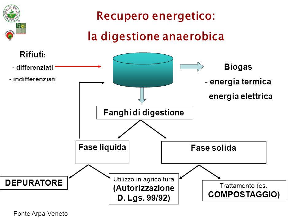 resa indicativa 400-600 m 3 /t di SV Emissioni Schema di un impianto di Digestione Anaerobica con produzione di energia elettrica/termica A) SEZIONE DI TRATTAMENTO RIFIUTI B )SEZIONE DI PRODUZIONE DI ENERGIA ELETTRICA Digestore Anaerobico Rifiuti in ingresso FORSU biogas Fanghi di digestione Fonte Arpa Veneto