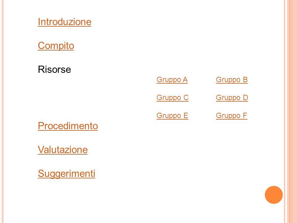 Introduzione Compito Risorse Gruppo AGruppo B Gruppo CGruppo D Gruppo EGruppo F Procedimento Valutazione Suggerimenti