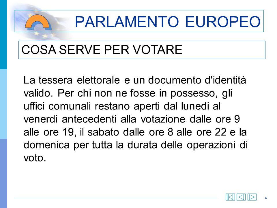 4 PARLAMENTO EUROPEO La tessera elettorale e un documento d identità valido.
