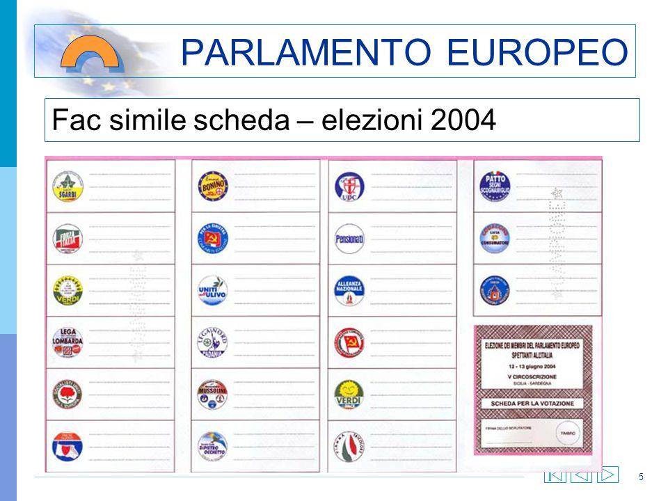 5 PARLAMENTO EUROPEO Fac simile scheda – elezioni 2004