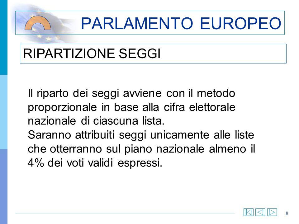 8 PARLAMENTO EUROPEO Il riparto dei seggi avviene con il metodo proporzionale in base alla cifra elettorale nazionale di ciascuna lista.