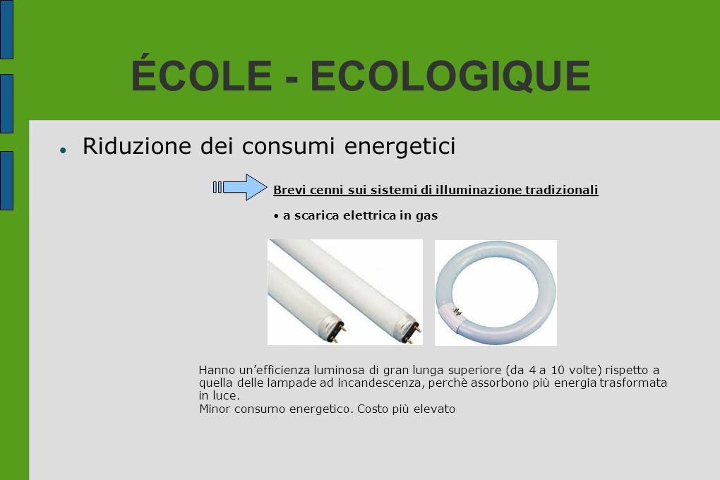 ÉCOLE - ECOLOGIQUE Riduzione dei consumi energetici Brevi cenni sui sistemi di illuminazione tradizionali a scarica elettrica in gas Hanno unefficienz
