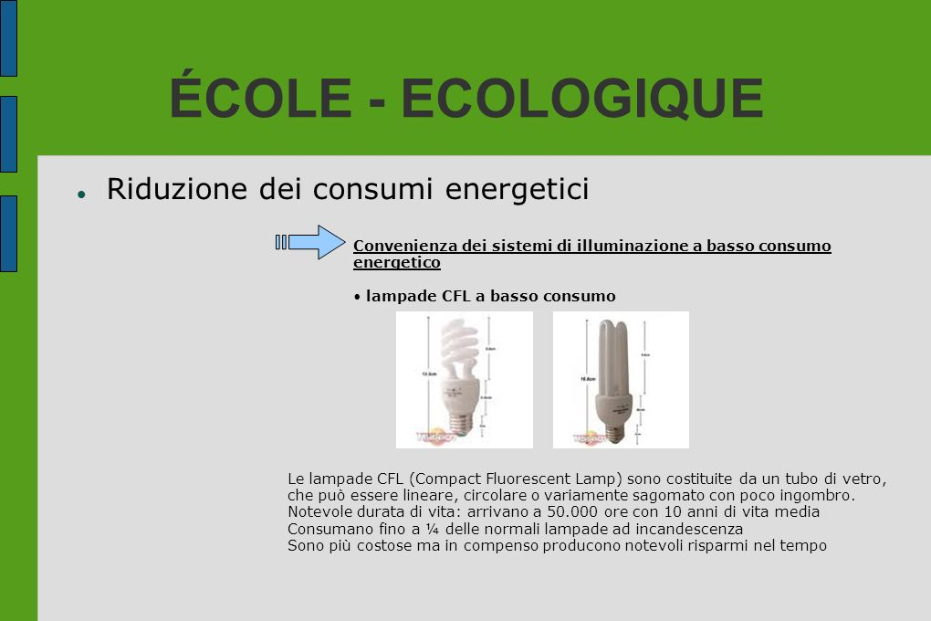 ÉCOLE - ECOLOGIQUE Riduzione dei consumi energetici Convenienza dei sistemi di illuminazione a basso consumo energetico lampade CFL a basso consumo Le