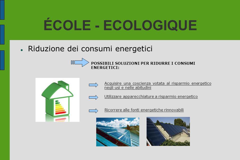 ÉCOLE - ECOLOGIQUE Riduzione dei consumi energetici POSSIBILI SOLUZIONI PER RIDURRE I CONSUMI ENERGETICI: Acquisire una coscienza votata al risparmio