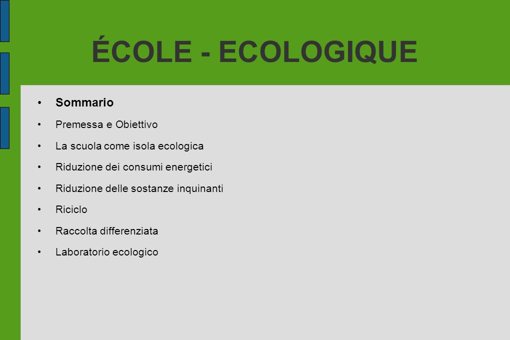 ÉCOLE - ECOLOGIQUE Premessa La scuola come grande opportunità di apprendimento dei comportamenti ecologici Acquisizione fin da giovani di una mentalità ecologista Integrazione dei principi di scuola ecologica con programmi di tipo internazionali Capire come realizzare la scuola ecologica del domani Cogliere le opportunità di lavoro che la scuola del domani suggerisce