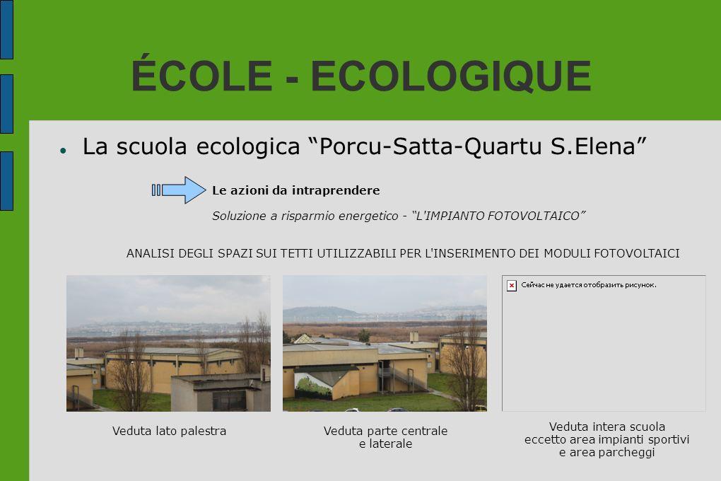 ÉCOLE - ECOLOGIQUE La scuola ecologica Porcu-Satta-Quartu S.Elena Le azioni da intraprendere Soluzione a risparmio energetico - L'IMPIANTO FOTOVOLTAIC