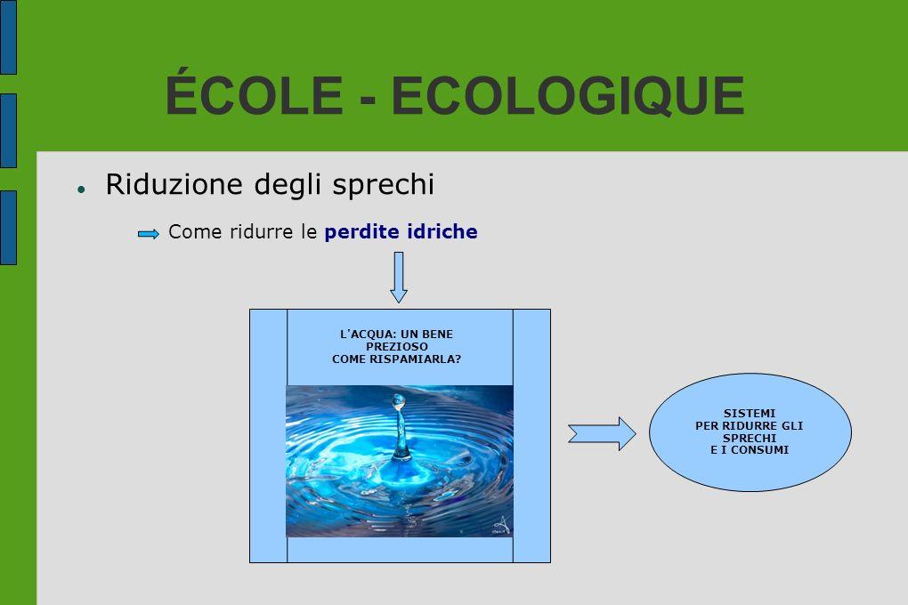 ÉCOLE - ECOLOGIQUE Riduzione degli sprechi Come ridurre le perdite idriche L'ACQUA: UN BENE PREZIOSO COME RISPAMIARLA? SISTEMI PER RIDURRE GLI SPRECHI