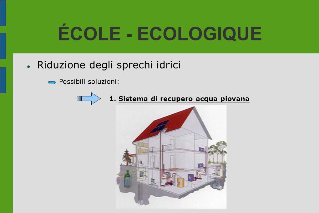 ÉCOLE - ECOLOGIQUE Riduzione degli sprechi idrici Possibili soluzioni: 1. Sistema di recupero acqua piovana