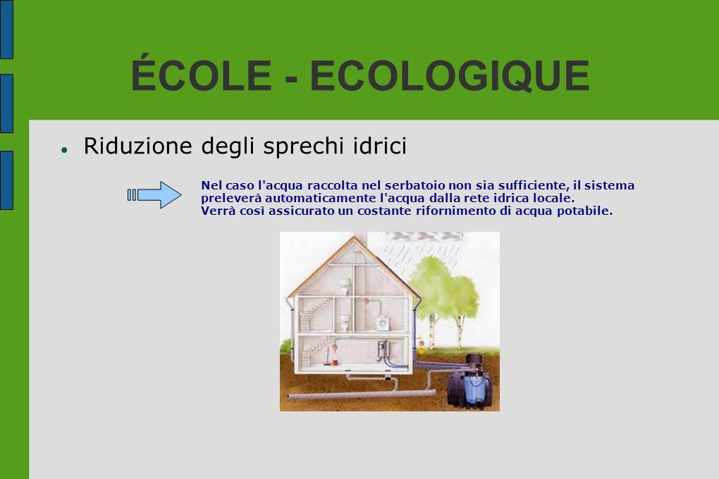 ÉCOLE - ECOLOGIQUE Riduzione degli sprechi idrici Nel caso l'acqua raccolta nel serbatoio non sia sufficiente, il sistema preleverà automaticamente l'