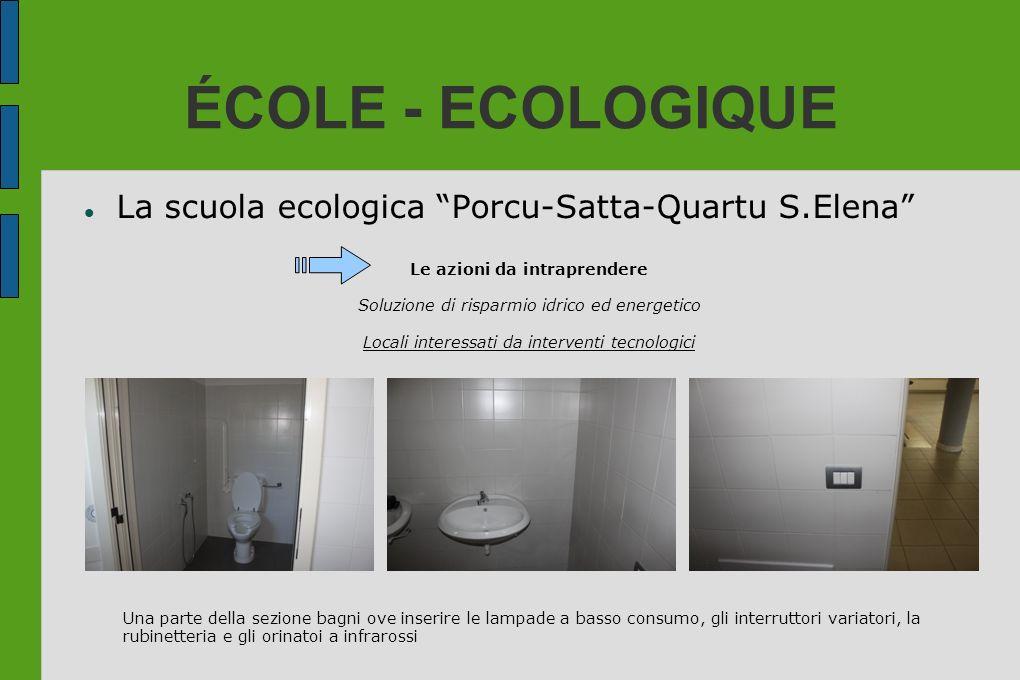ÉCOLE - ECOLOGIQUE La scuola ecologica Porcu-Satta-Quartu S.Elena Le azioni da intraprendere Soluzione di risparmio idrico ed energetico Locali intere