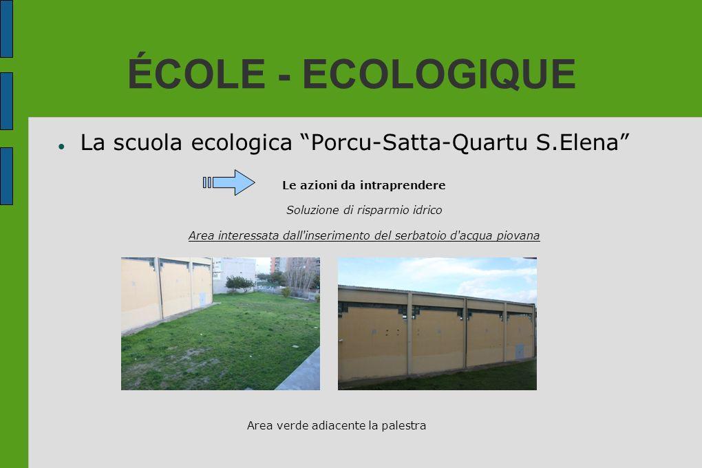ÉCOLE - ECOLOGIQUE La scuola ecologica Porcu-Satta-Quartu S.Elena Le azioni da intraprendere Soluzione di risparmio idrico Area interessata dall'inser