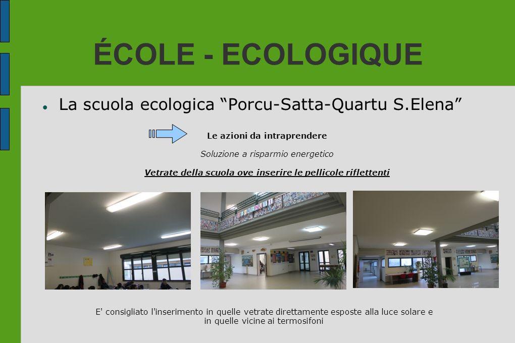 ÉCOLE - ECOLOGIQUE La scuola ecologica Porcu-Satta-Quartu S.Elena Le azioni da intraprendere Soluzione a risparmio energetico Vetrate della scuola ove