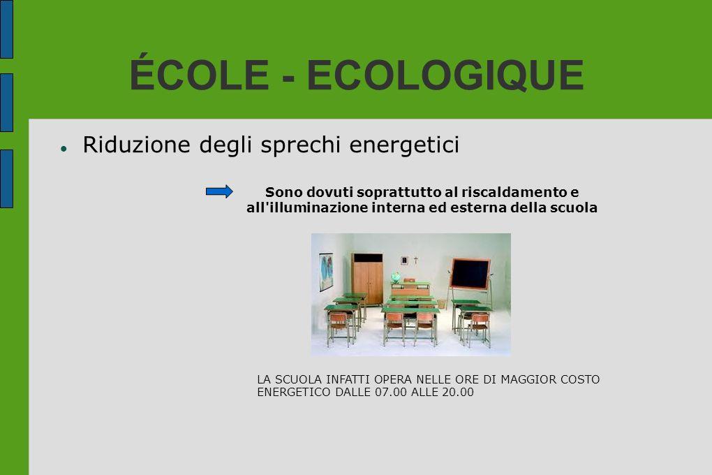 ÉCOLE - ECOLOGIQUE Riduzione degli sprechi energetici Sono dovuti soprattutto al riscaldamento e all'illuminazione interna ed esterna della scuola LA