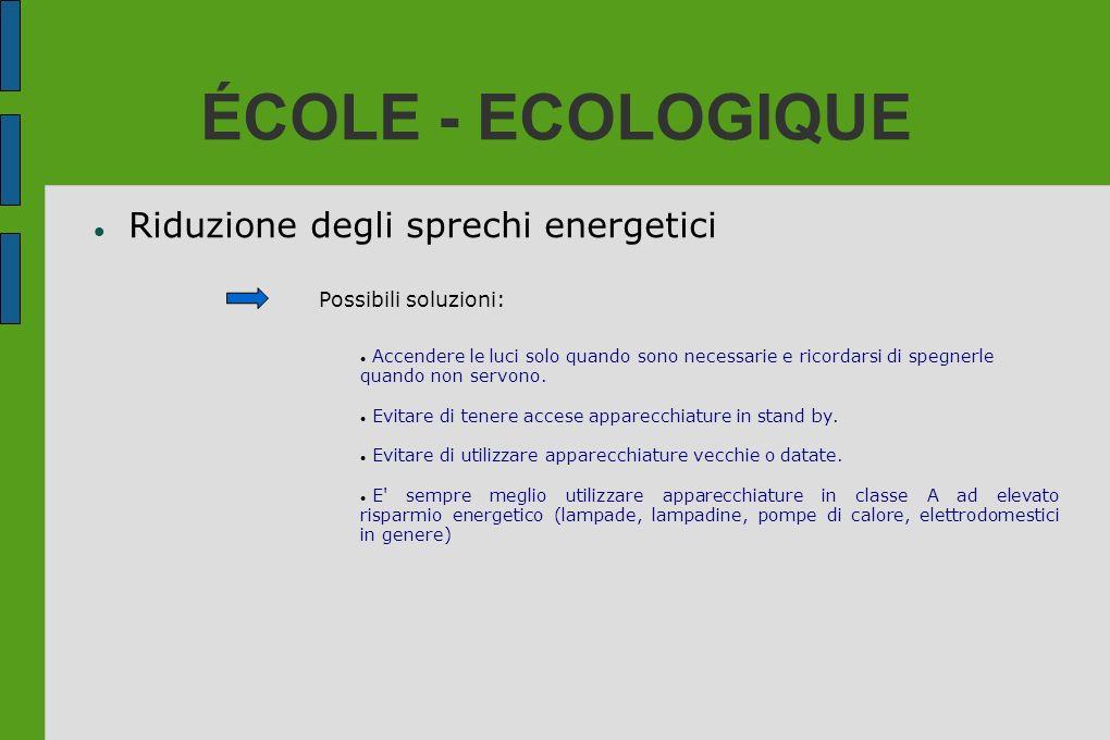 ÉCOLE - ECOLOGIQUE Riduzione degli sprechi energetici Possibili soluzioni: Accendere le luci solo quando sono necessarie e ricordarsi di spegnerle qua