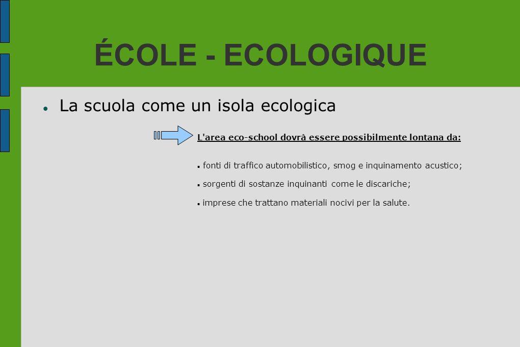 ÉCOLE - ECOLOGIQUE La scuola come un isola ecologica L'area eco-school dovrà essere possibilmente lontana da: fonti di traffico automobilistico, smog