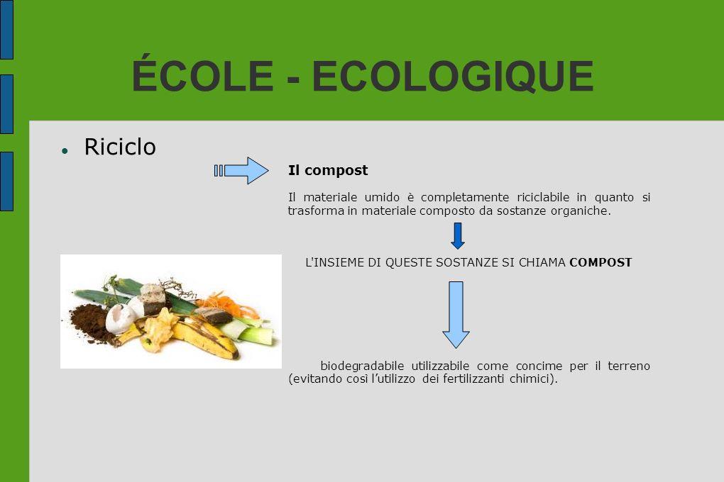 ÉCOLE - ECOLOGIQUE Riciclo Il compost Il materiale umido è completamente riciclabile in quanto si trasforma in materiale composto da sostanze organich