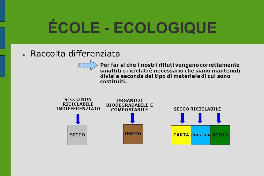 ÉCOLE - ECOLOGIQUE Raccolta differenziata Per far sì che i nostri rifiuti vengano correttamente smaltiti e riciclati è necessario che siano mantenuti