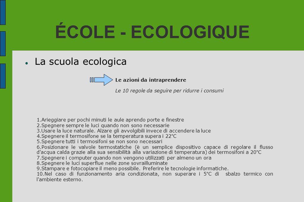 ÉCOLE - ECOLOGIQUE La scuola ecologica Le azioni da intraprendere Le 10 regole da seguire per ridurre i consumi 1.Arieggiare per pochi minuti le aule