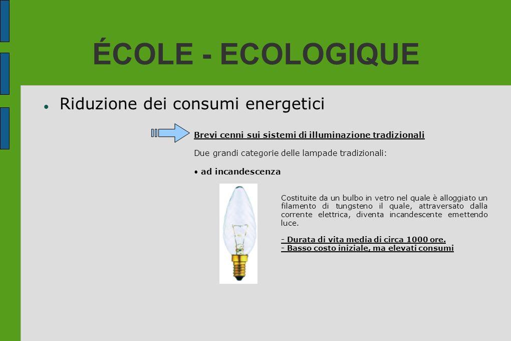 ÉCOLE - ECOLOGIQUE Riduzione dei consumi energetici Brevi cenni sui sistemi di illuminazione tradizionali Due grandi categorie delle lampade tradizion