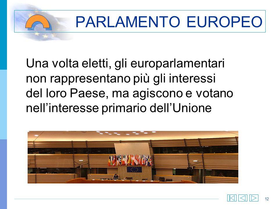 12 PARLAMENTO EUROPEO Una volta eletti, gli europarlamentari non rappresentano più gli interessi del loro Paese, ma agiscono e votano nellinteresse pr
