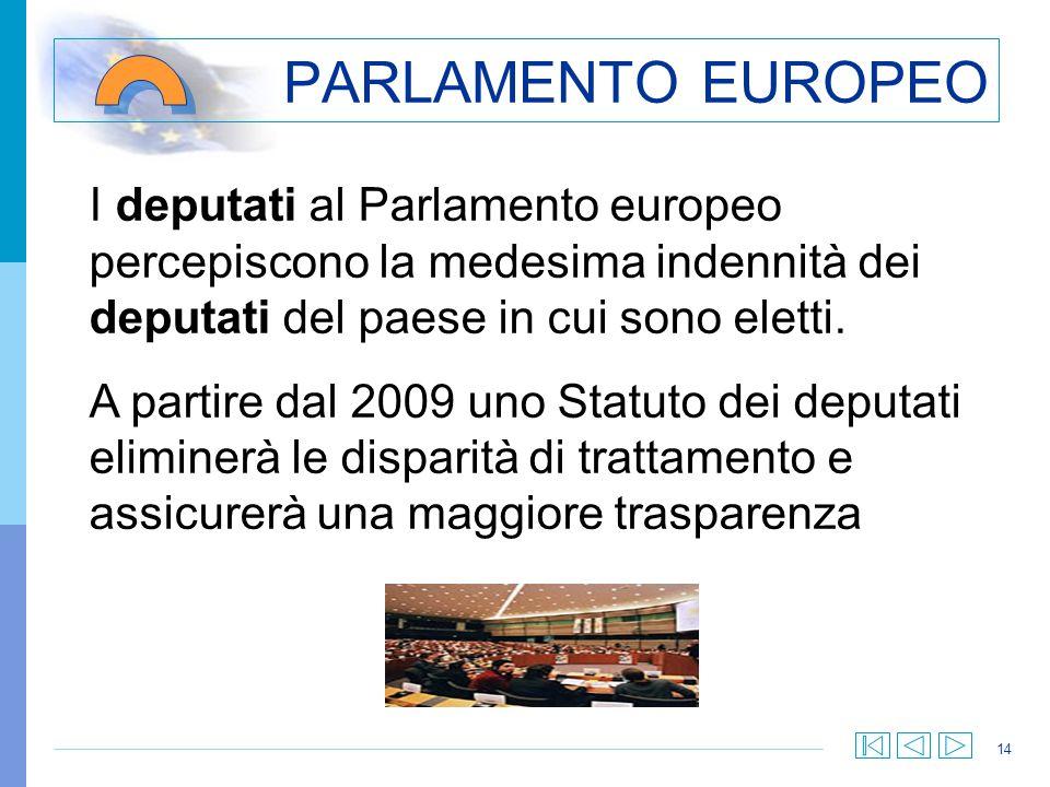 14 PARLAMENTO EUROPEO I deputati al Parlamento europeo percepiscono la medesima indennità dei deputati del paese in cui sono eletti. A partire dal 200