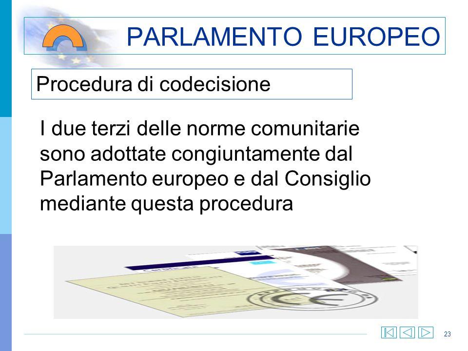23 Procedura di codecisione PARLAMENTO EUROPEO I due terzi delle norme comunitarie sono adottate congiuntamente dal Parlamento europeo e dal Consiglio